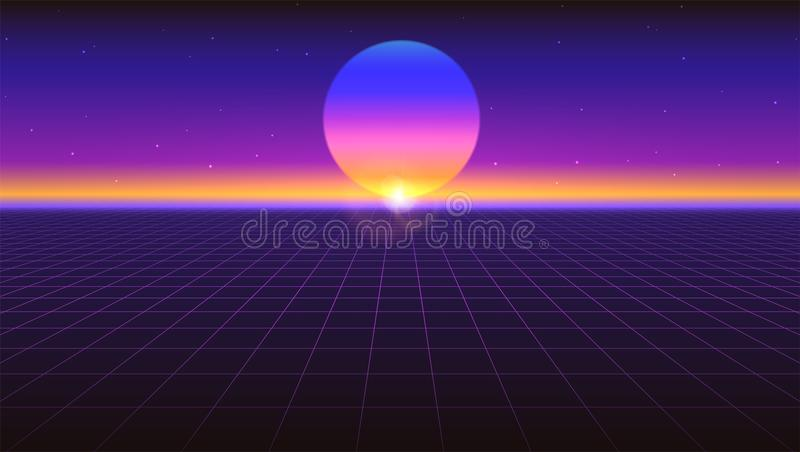 Sci fi futurystyczny abstrakcjonistyczny tło Fiołkowy retro gradient, rocznika 80's styl Wirtualna powierzchnia z neonowymi siatk ilustracji
