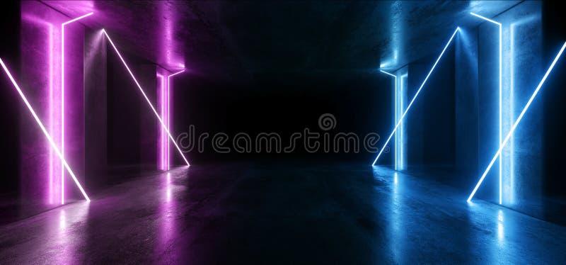 Sci Fi Glowing Neon Lines Tube Illumina Fari Laser Vibranti Viola Futuristici Showroom Concrete Dark Empk Background Tunnel illustrazione di stock