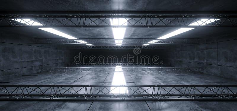 Sci Fi Grunge panelu sceny metalu struktury Laserowych świateł Hall korytarza Futurystyczny Betonowy Odbijający statek kosmiczny  royalty ilustracja
