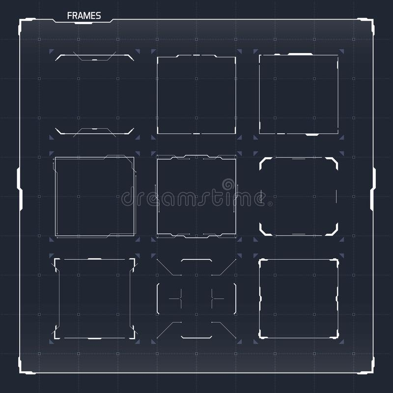 Sci-Fi HUD Ui Square Frames stock illustration