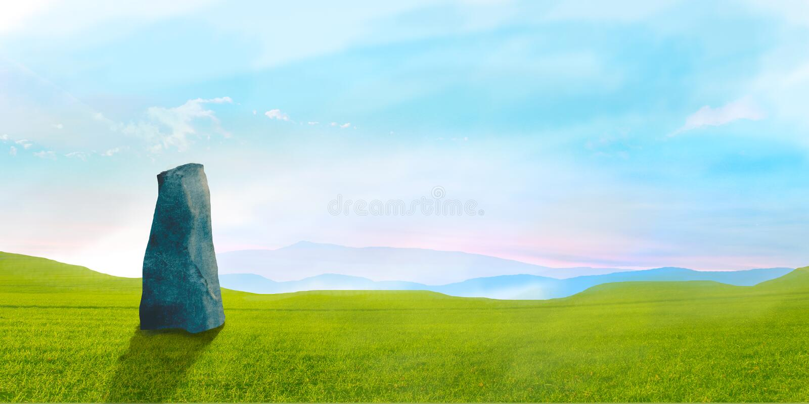 Sci-fi landscape with big stone green grass and sky, digital painting. Illustration stock photography