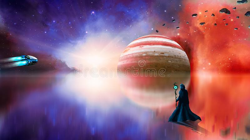Sci-fi landscape digital painting with nebula, magician, gas gigant, lake and spaceship. Elements furnished by NASA. 3D rendering royalty free stock photography