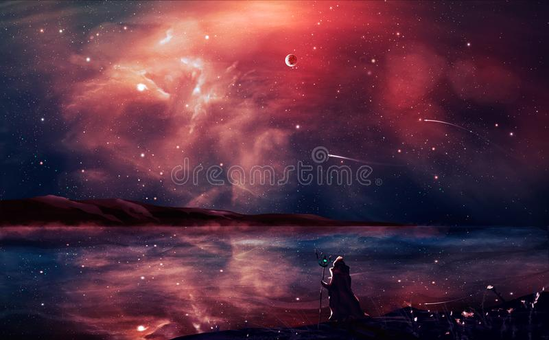 Sci-fi landscape digital painting with nebula, magician, planet, mountain and lake in red color. Elements furnished by NASA. 3D r royalty free illustration
