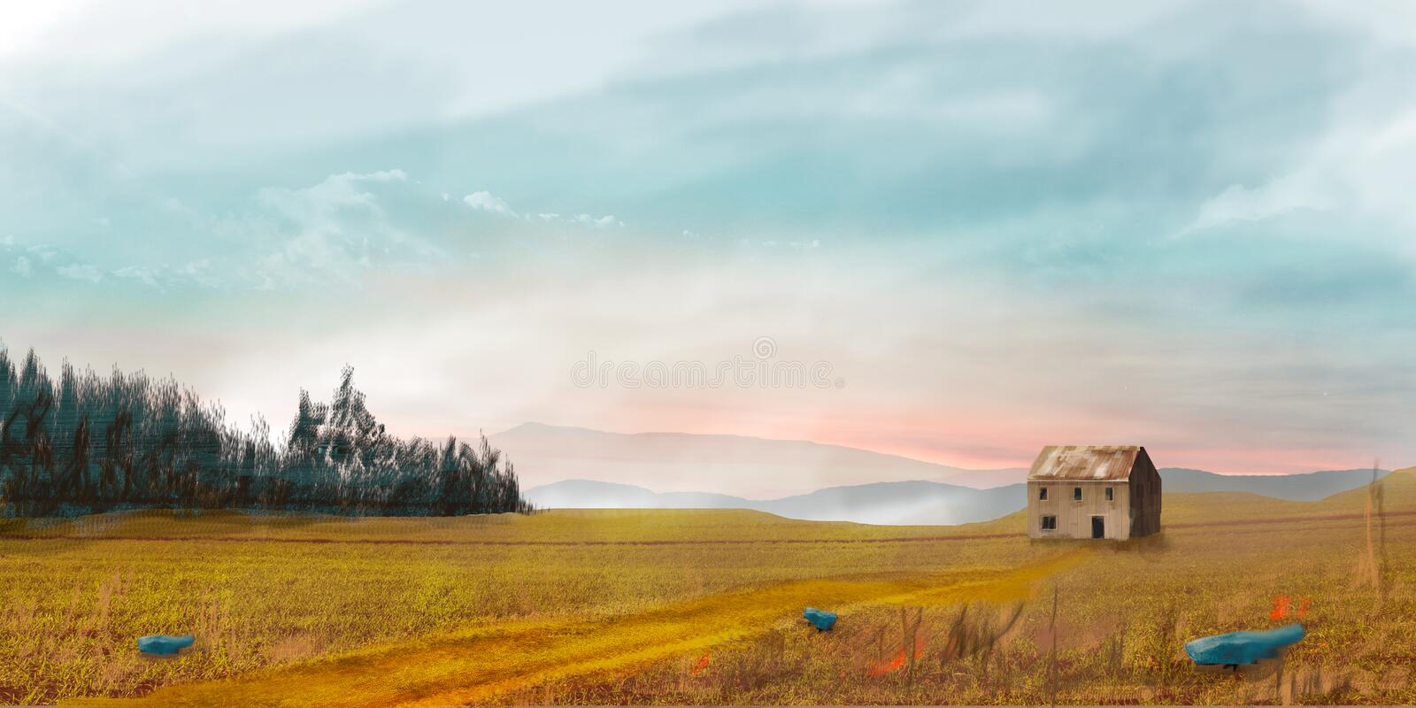 Sci-fi landscape with house, trees and sky, digital painting. Illustration stock photo