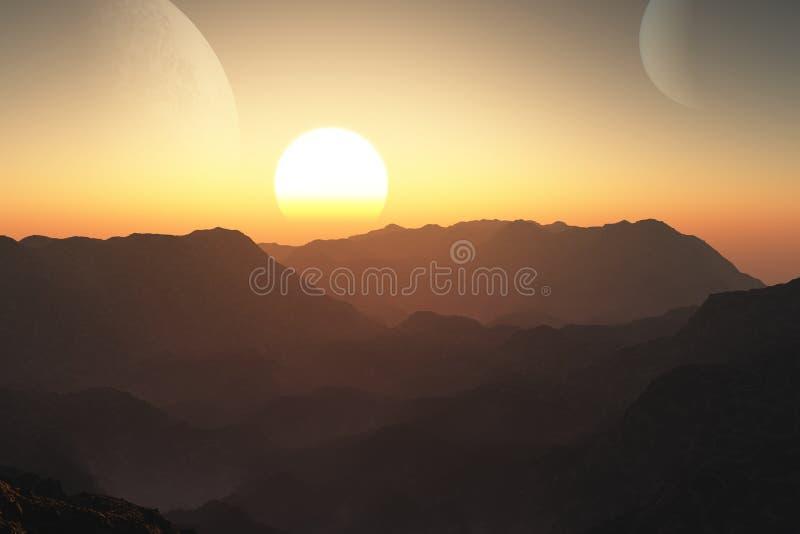 Download Sci-fi Landscape at Sunset stock illustration. Image of planet - 34661368