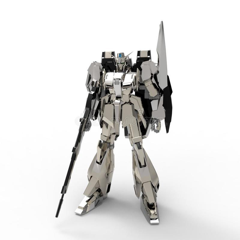 Sci-fi mech soldier standing on a white background. Military futuristic robot with a green and gray color metal. Mech controlled vector illustration
