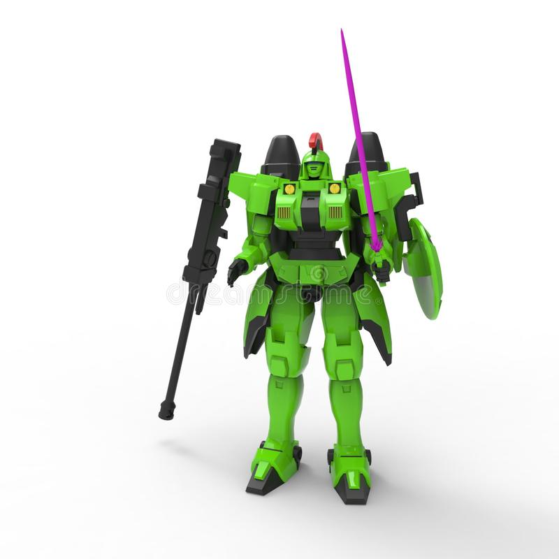 Sci-fi mech soldier standing on a white background. Military futuristic robot with a green and gray color metal. Mech controlled stock illustration