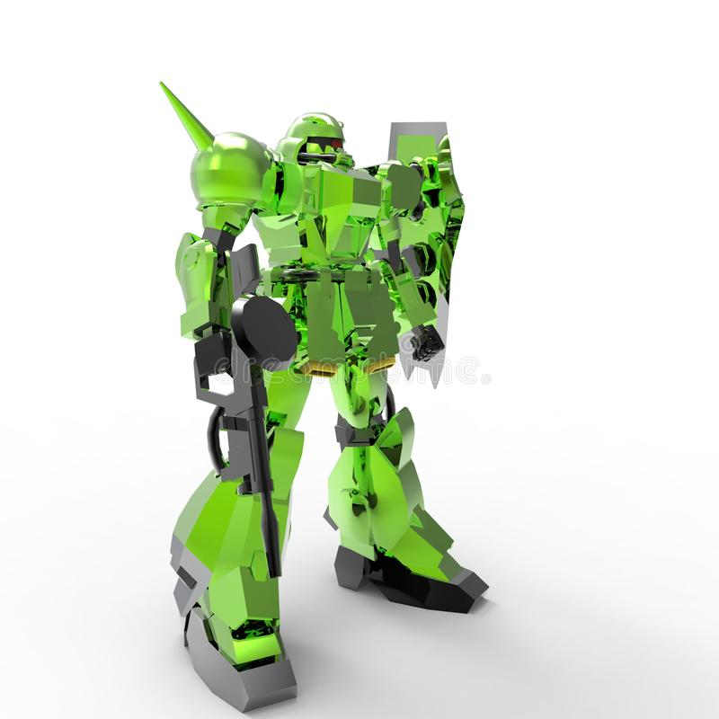 Sci-fi mech soldier standing on a white background. Military futuristic robot with a green and gray color metal. Mech controlled royalty free illustration
