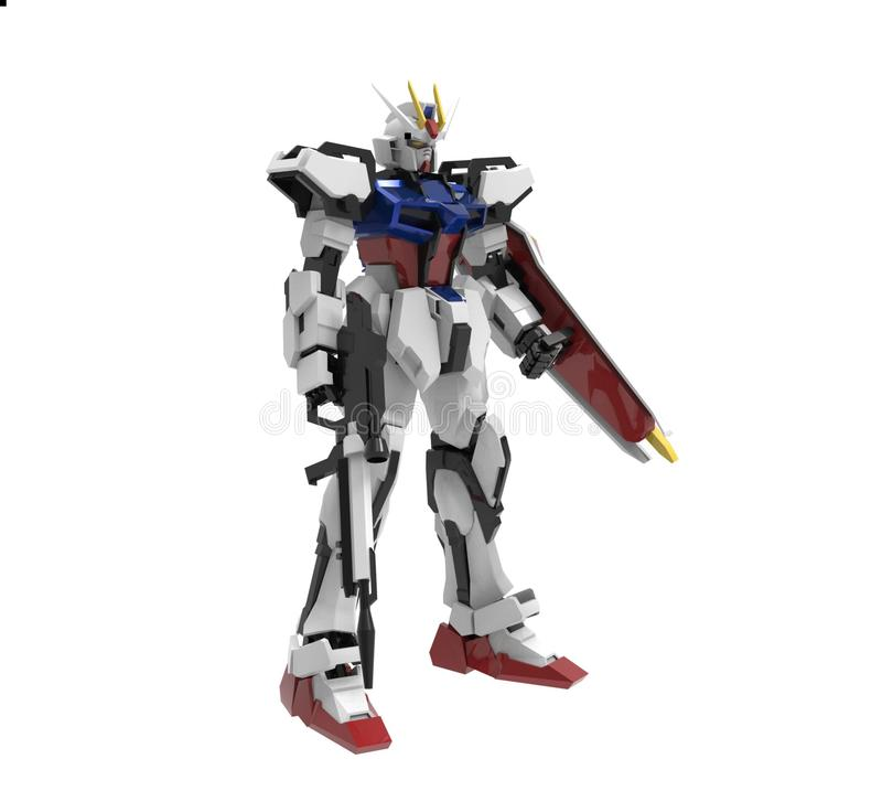 Sci-fi mech soldier standing on a white background. Military futuristic robot with a green and gray color metal. stock illustration
