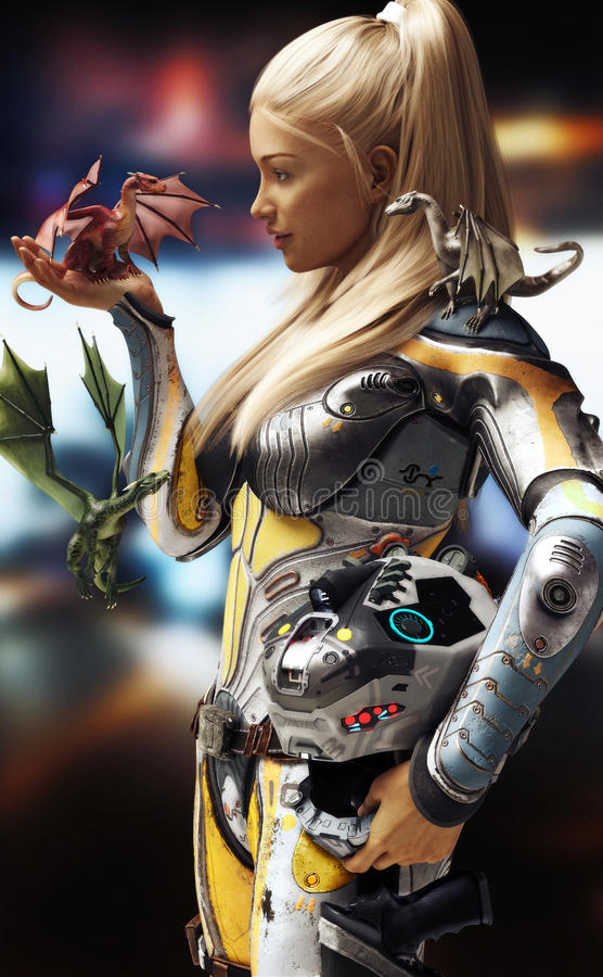 Sci-Fi Meets Fantasy. Blonde female in futuristic space armor with helmet , encountering three dragons. stock illustration