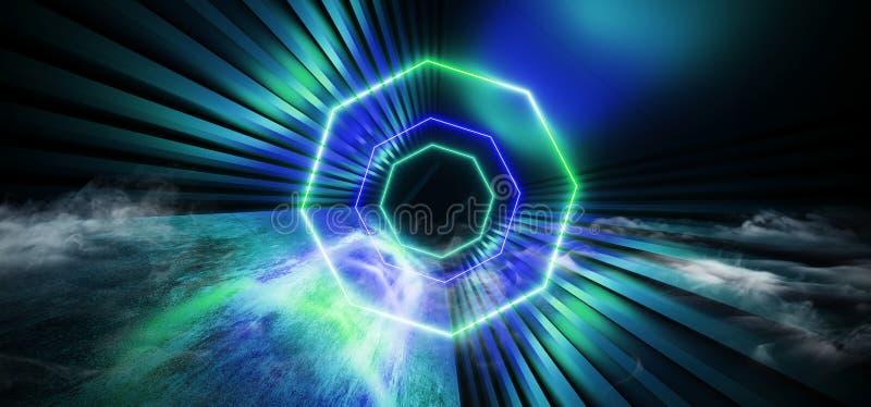 Sci Fi mgły kontrpary bramy Dymny Futurystyczny okrąg Kształtujący Błękitny Jarzy się Neonowy Fluorescencyjny Laserowy Wrotny świ ilustracji