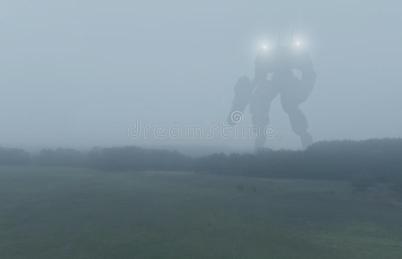 Sci-fi military giant battle machine. Humanoid robot in apocalypse countryside. Dystopia, science fiction, mech and. Combat technology concept. Illustration royalty free stock image