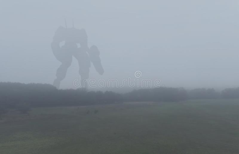 Sci-fi military giant battle machine. Humanoid robot in apocalypse countryside. Dystopia, science fiction, mech and stock illustration