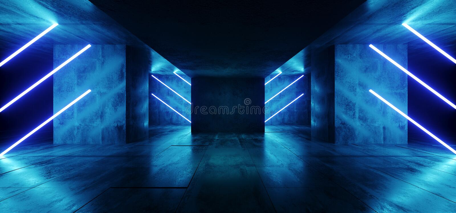 Sci Fi Neon Cyber Futuristic Modern Retro Alien Dance Club Glowing Vibrant Blue Lights In Dark Empty Grunge Concrete Refelctive. Room Corrior Background 3D royalty free illustration