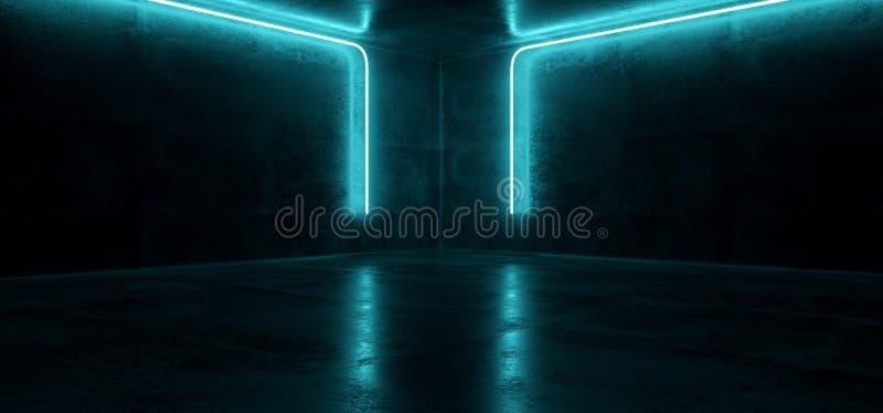 Sci Fi Neon Futuristic Cyberpunk Glowing Retro Modern Vibrant Blue Lights Laser Show Empty Stage Room Hall Reflective Concrete. Grunge Club Background 3D stock illustration
