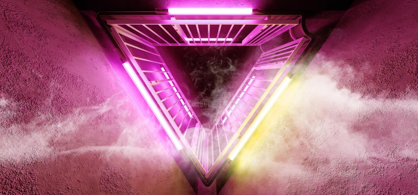 Sci Fi Neon Glowing Dance Lights Triangle Shaped Metal Construction Structure In Dark Smoke Fog Grunge Concrete Tunnel Corridor. Empty Space Purple Orange stock illustration