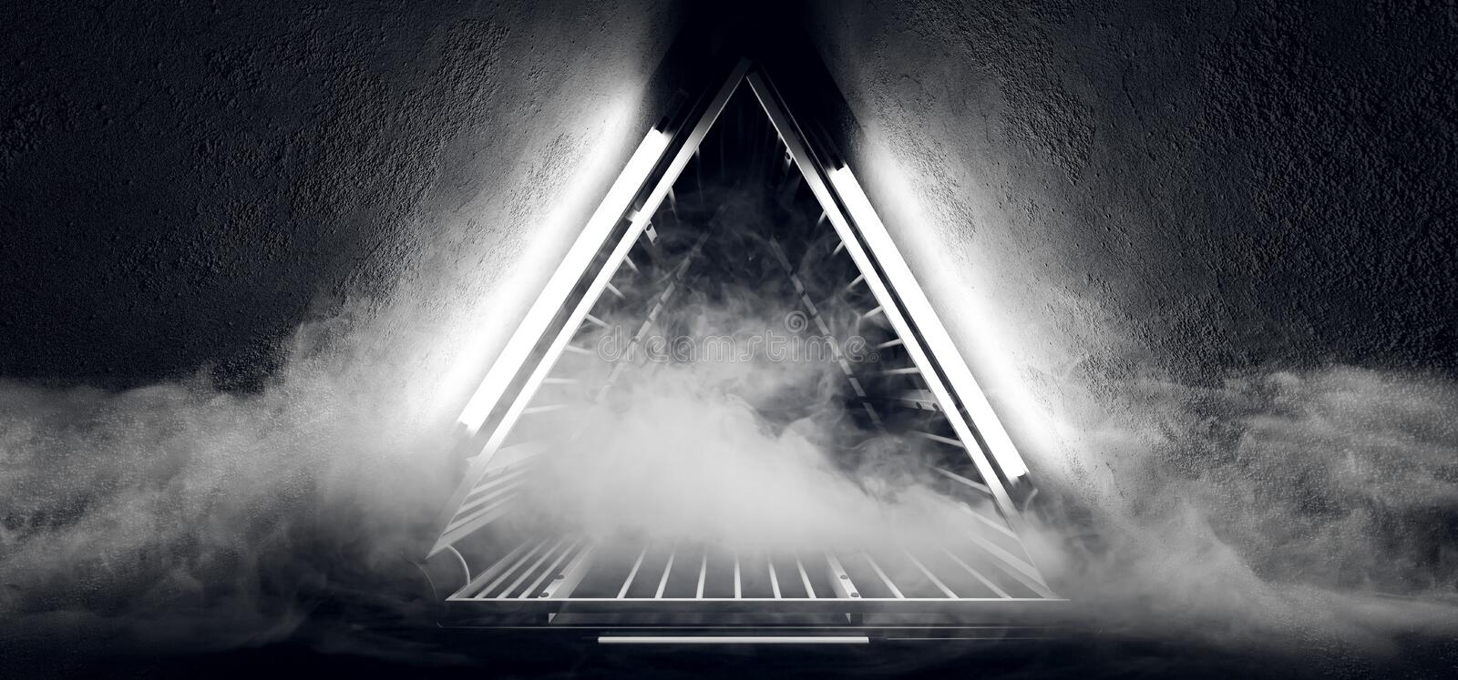 Sci Fi Neon Glowing Dance Lights Triangle Shaped Metal Construction Structure In Dark Smoke Fog Grunge Concrete Tunnel Corridor. Empty Space. 3D Rendering royalty free illustration