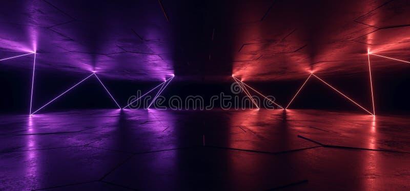 Sci Fi Neon Glowing Lights Blue Purple Background Chaotic Laser Gate Lines Floor Lasers Studio Stage Show Night Retro Futuristic. Modern Empty Concrete Grunge vector illustration