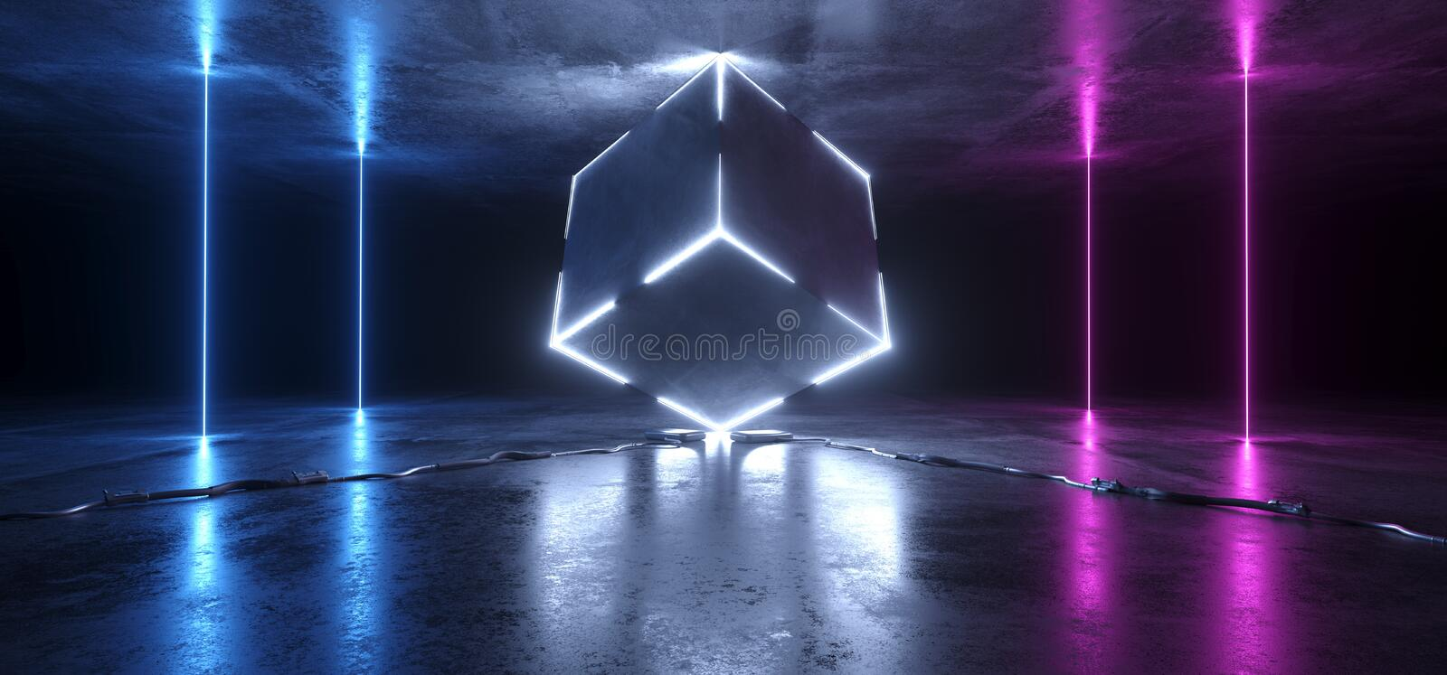 Sci Fi Neon Glowing Lights Purple Blue Background Cube Abstract Cables Plugs Laser Gate Lines Floor Lasers Studio Stage Show Night. Retro Futuristic Modern vector illustration