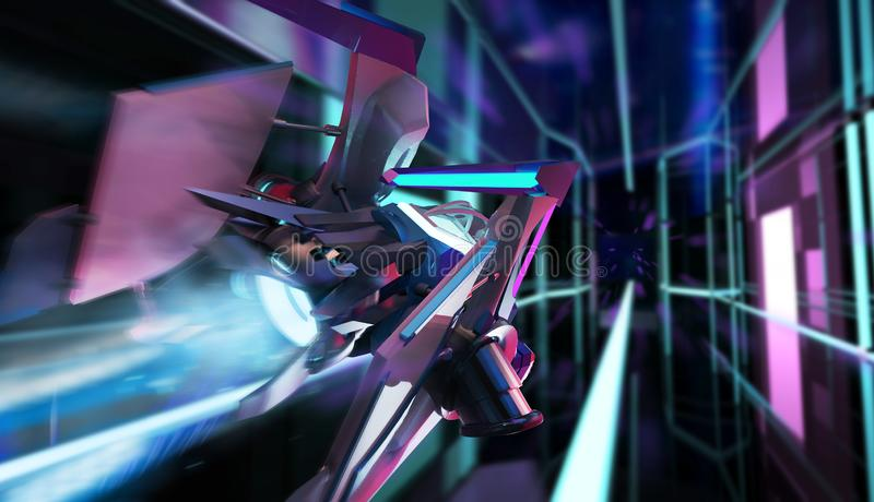 Sci-fi neon spaceship rear view stock illustration