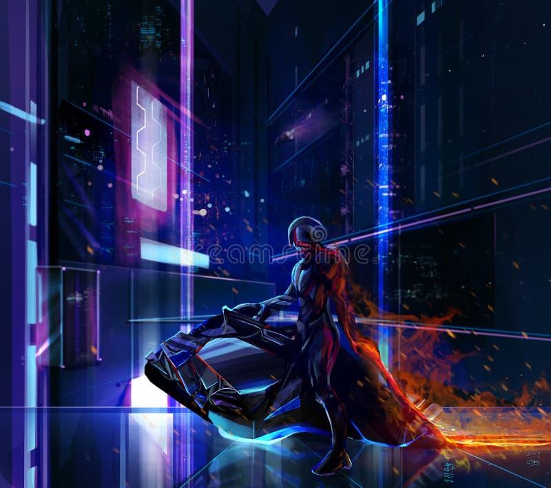 Sci-fi neon warrior on bike stock illustration