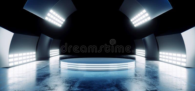 Sci Fi Nowożytni Futurystyczni Neonowi Błękitni Wibrujący kolory Z Pustą okrąg sceną Hall Jarzy się Z Dużymi światłami białymi Pr ilustracji