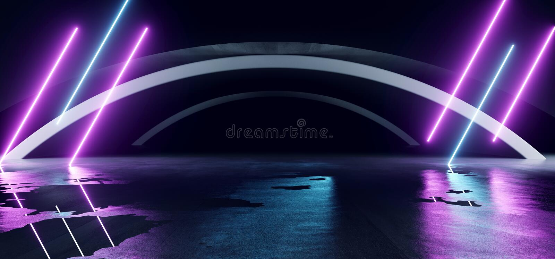Sci Fi Oval Lines Arc Spaceship Glowing Neon Purple Blue Futuristic Virtual Grung Cemento Reflective Dark Night Tunnel tunnel illustrazione di stock