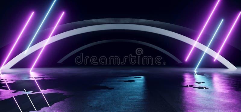 Sci Fi Oval Lines Arc Spaceship Glowing Neon Purple Blue Futuristic Virtual Grunge Concrete Cement Reflective Dark Night Tunnel stock illustrationer