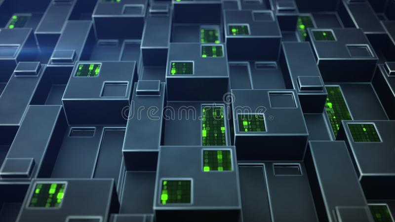 Sci-fi panel with hexadecimal code 3D render illustration. Sci-fi panel with hexadecimal code. Futuristic technology concept. 3D render illustration vector illustration