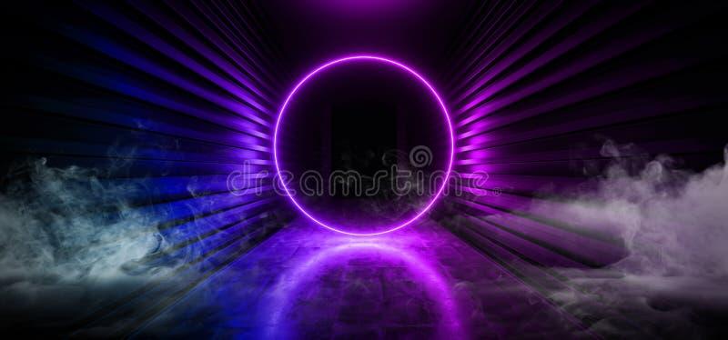 Sci FI-Rauch-formte futuristischer Nebel-Dampf-Kreis Regenbogen-Purpur-Rosa-blauen glühenden Neonleuchtstofflaser Ring Portal Gat lizenzfreie abbildung
