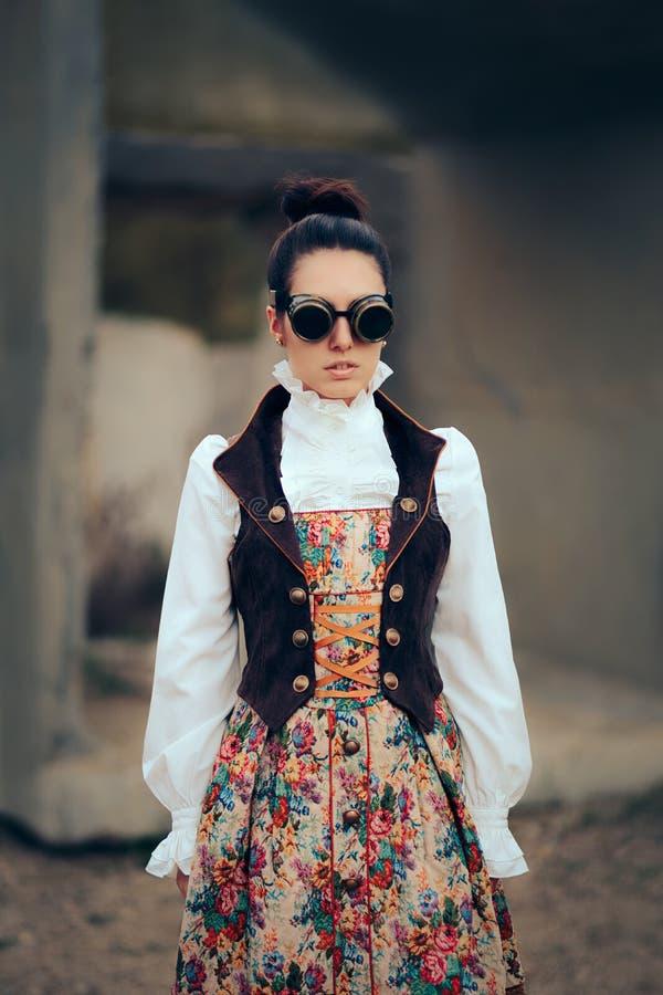 Sci Fi Retro Futuristic Steampunk Cosplay Woman Portrait. Girl in Victorian fashion style costume wearing goggles stock photography