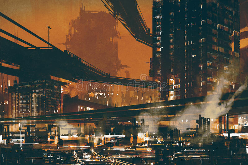 Sci fi scene of futuristic industrial cityscape vector illustration