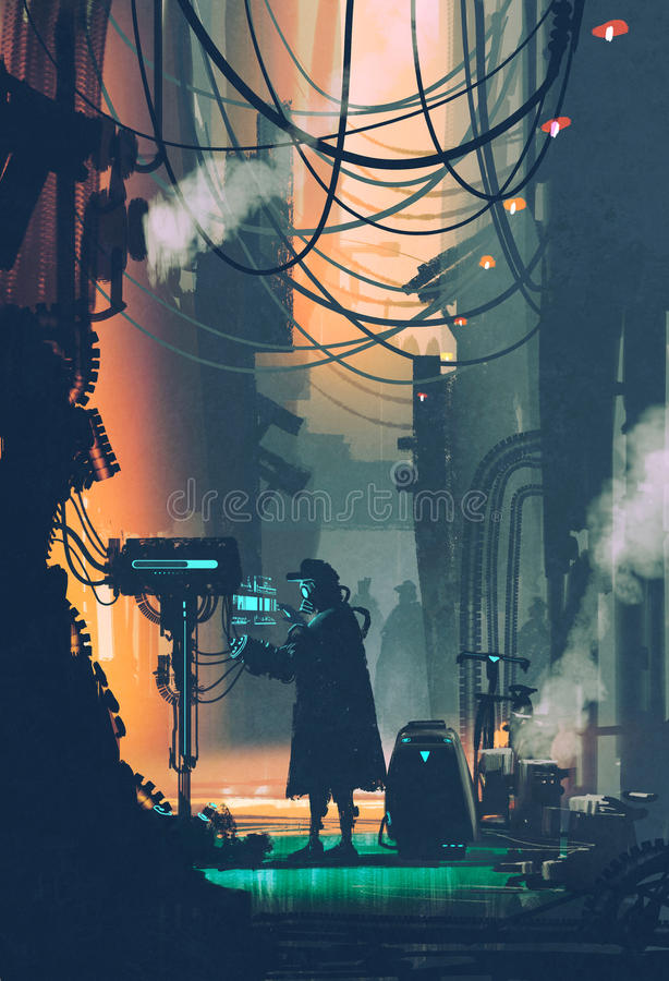 Sci-fi scene of robot using futuristic computer in city street stock illustration