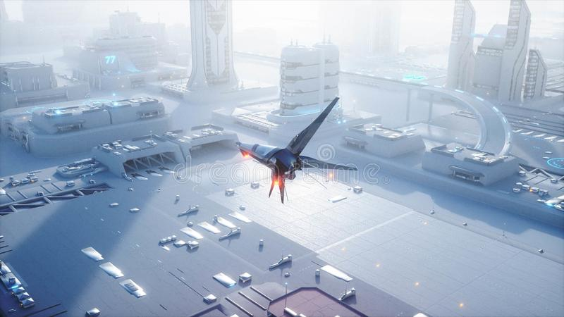 Sci fi ship over futuristic fog city. Aerial view. Concept of future. 3d rendering. stock illustration