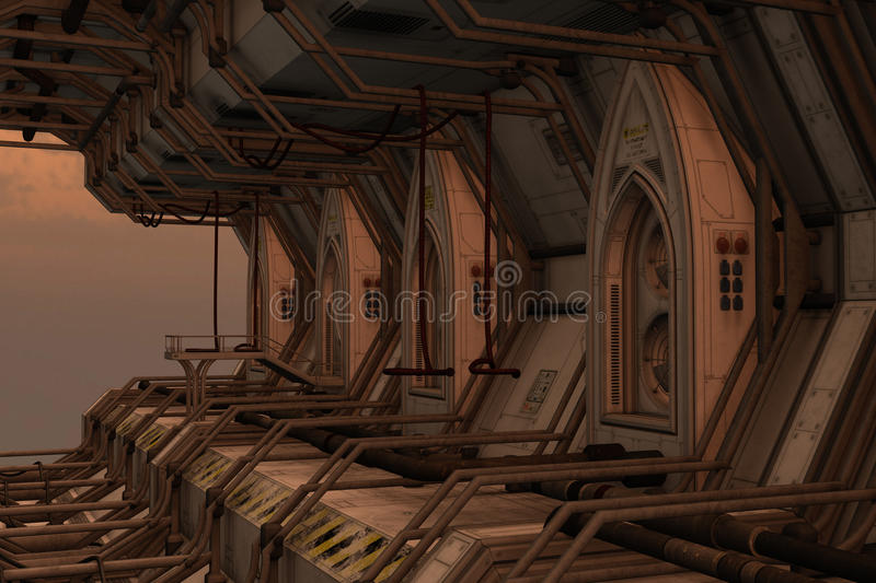 Sci-fi space dock station. 3D rendered illustration of sci-fi space dock station on sunset royalty free illustration