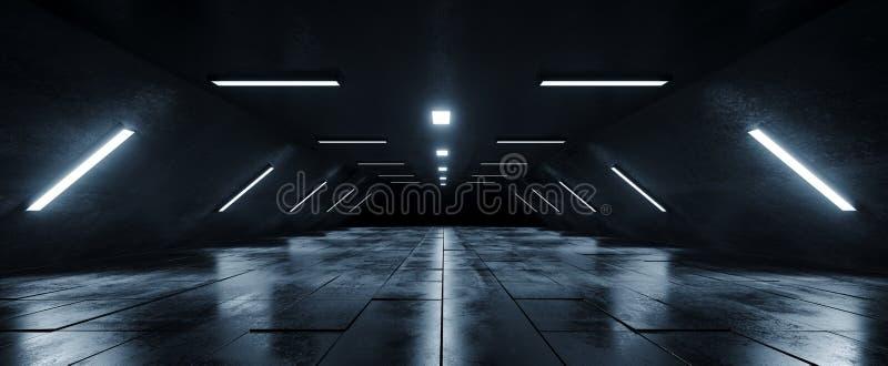 Sci Fi statku kosmicznego zmroku Grunge Futurystycznego Obcego Pustego betonu Odbijająca Kafelkowa podłoga Hall I Biały Błękitny  royalty ilustracja