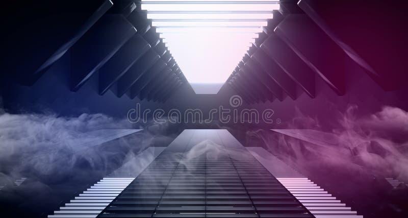 Sci Fi statku odbicia metalu Nowożytnego Futurystycznego Obcego zmroku Pusty Biały Błękitny Purpurowy Rozjarzony Tunelowy korytar ilustracji