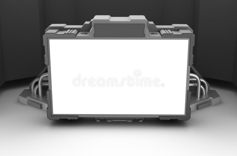 Sci-fi terminal. Blank techno screen with wires and cables. 3d image vector illustration