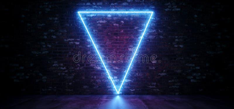 Sci Fi trójboka Neonowy abstrakt Kształtujący Rozjarzeni Błękitni Purpurowi światła Na Grunge ścianie z cegieł I Odbijającym Beto royalty ilustracja