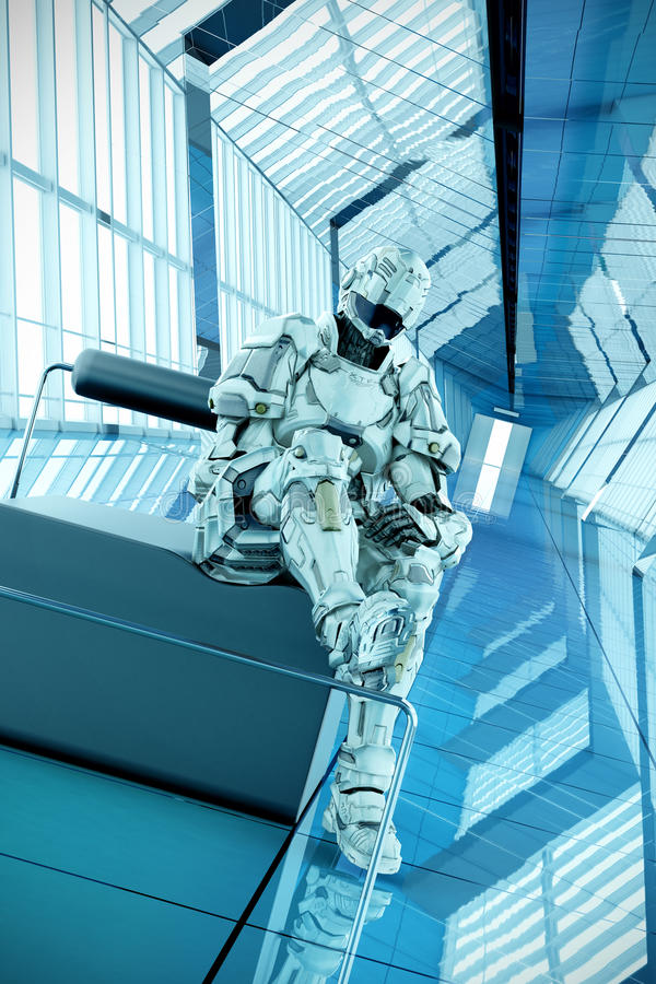 Sci-fi trooper waiting pose 3d illustration. Sci-fi character posing in a long corridor... character rigged and rendered within 3ds max with v-ray vector illustration