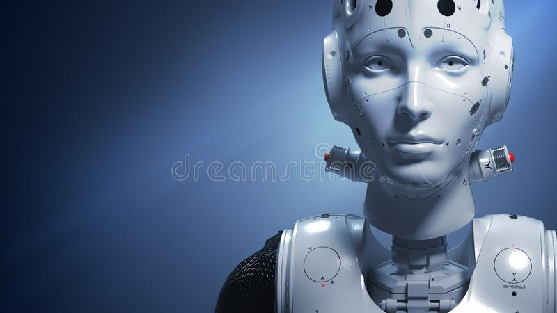 Sci-fi woman  digital world. Robot woman, sci-fi woman  digital world of the future of neural networks and the artificial intelligence 3d render stock illustration