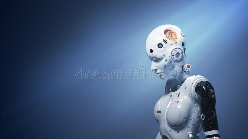 Sci-fi woman  digital world. Robot woman, sci-fi woman  digital world of the future of neural networks and the artificial intelligence 3d render vector illustration