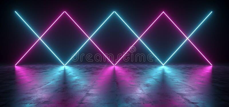 Sci futurista Fi azul y luces púrpuras del tubo de neón que brillan intensamente en el Co ilustración del vector