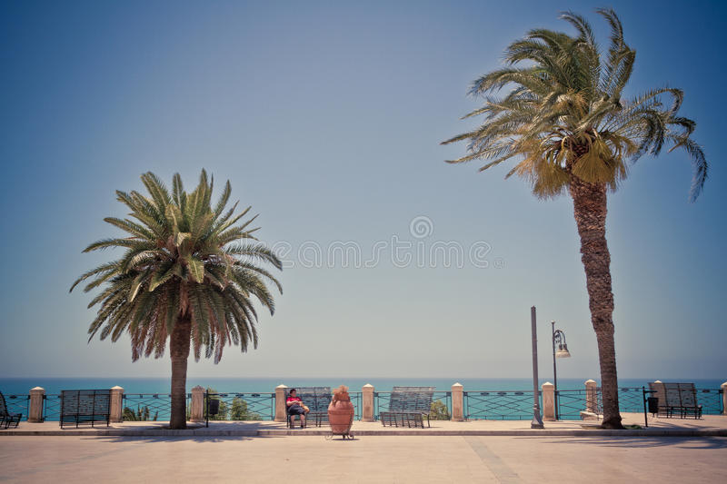 SCIACCA, ITALY - June 18, 2013: Angelo Scandaliato Square in Sci. Acca, Italy. Sciacca is known as the city of thermal baths since Greek stock image