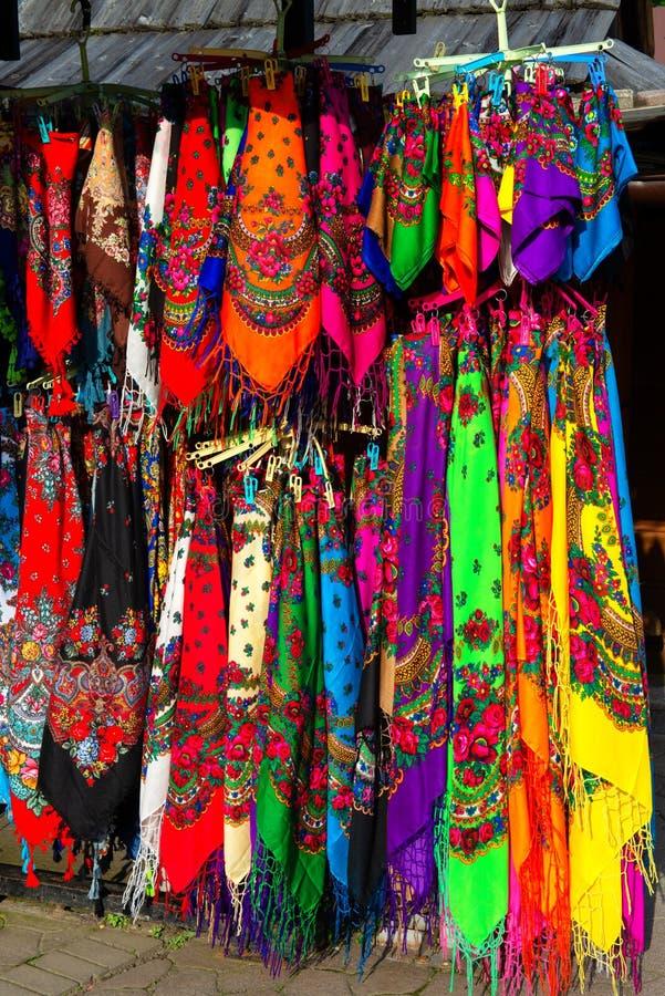 Scialli tradizionali da Zakopane, Polonia immagini stock libere da diritti