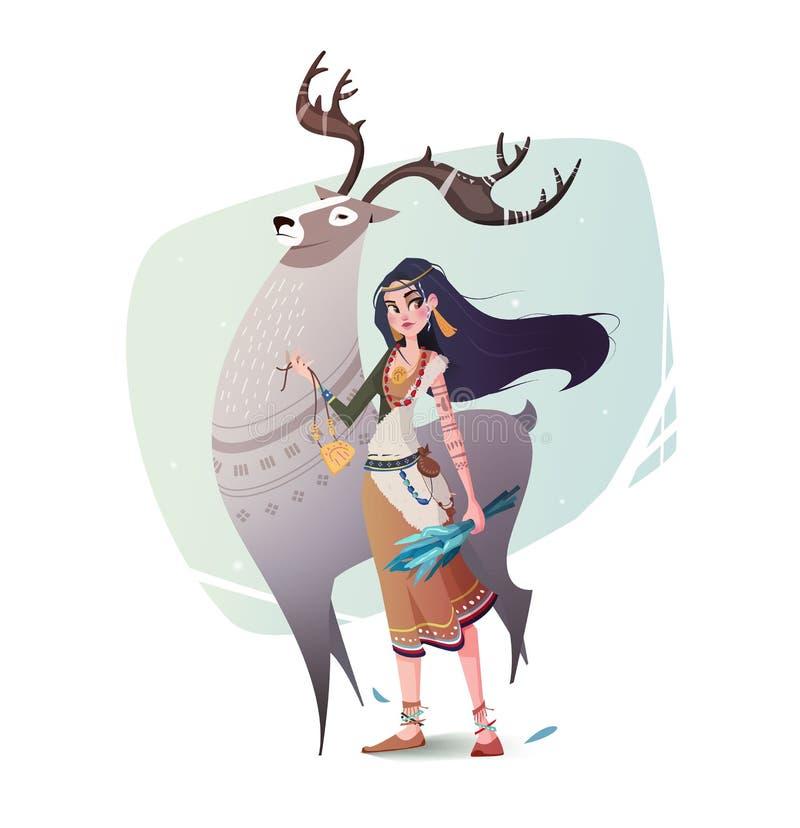 Sciamano e ragazze magici della renna dell'illustrazione illustrazione di stock