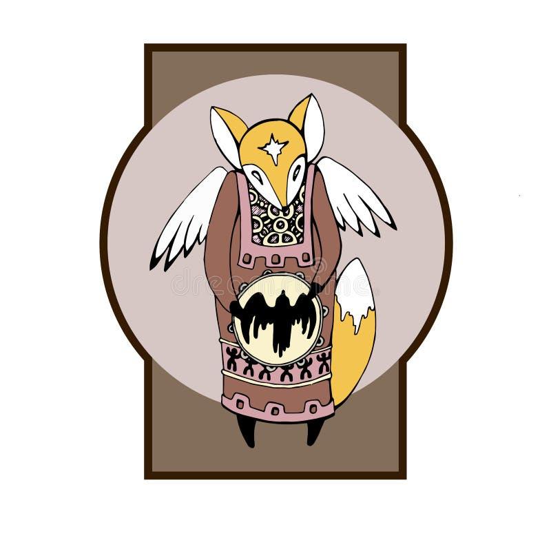Sciamano etnico di Fox con le ali illustrazione di stock