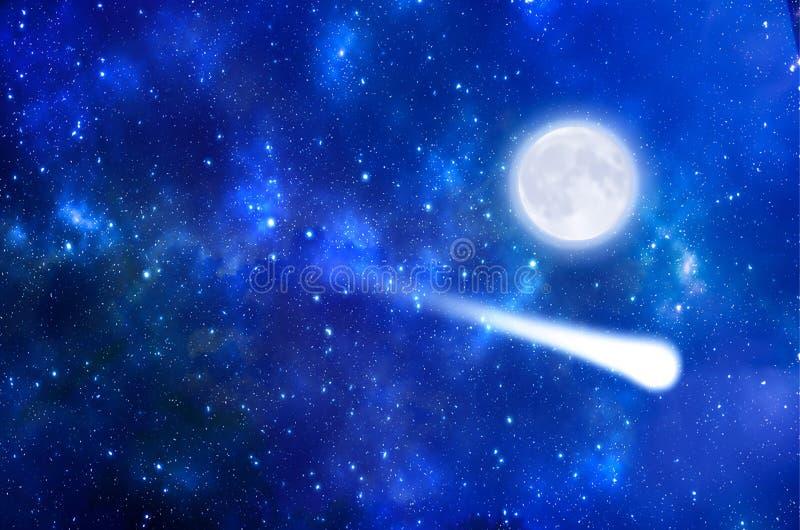 Sciame meteorico e luna illustrazione vettoriale