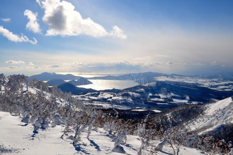 Sciando nell'Hokkaido, il Giappone fotografia stock