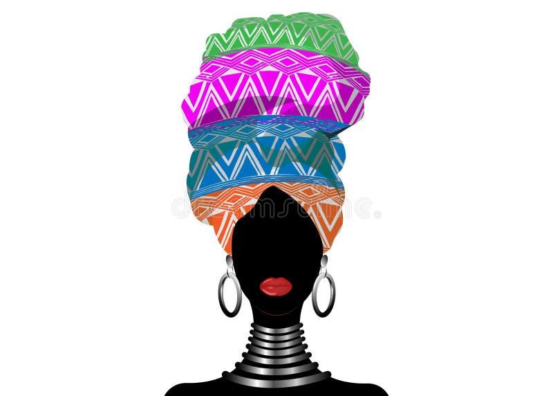 Sciarpa africana, donna di afro del ritratto in un turbante a strisce Modo tribale dell'involucro, Ankara, Kente, kitenge, isolat illustrazione di stock